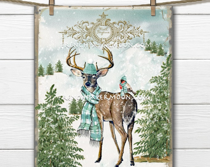 Christmas Deer Printable, Woodland Christmas, DIY Xmas Sign, Snowy Scene, Antique Reindeer Print, Xmas Decor, Transparent, French Graphic