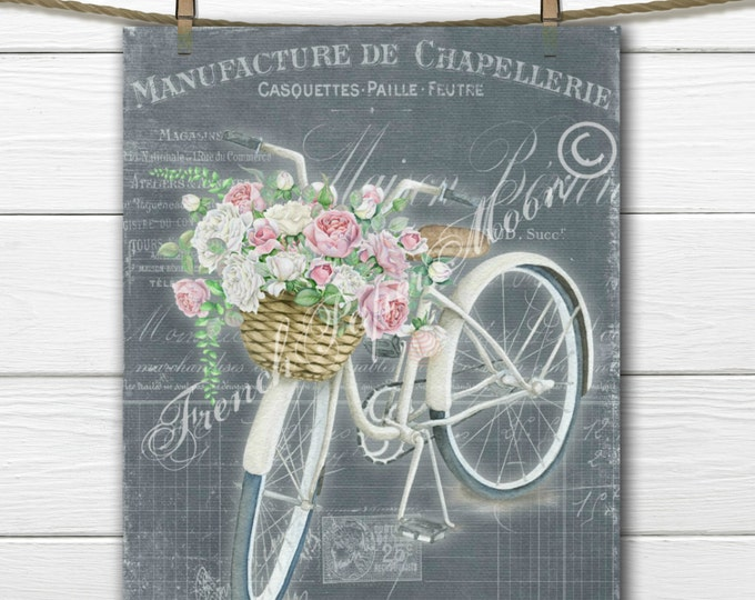 Vintage French Digital Bicycle Download, Bike with Flower Basket, Chalkboard Bike Printable, French Digital Art
