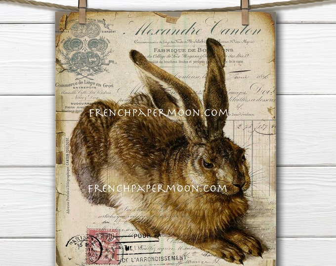 Shabby French Bunny, Digital, Antique Rabbit, French Receipt, Decoupage, French Digital Pillow Transfer, Easter Bunny Digital Graphic