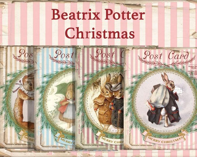 Beatrix Potter Christmas Bunnies, Digital Collage, Shabby Christmas Bunnies, Christmas Cards, Printable Christmas, Notecards, Gift Cards