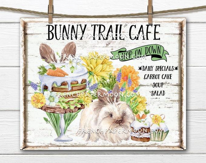 Spring Bunny, Digital, Bunny Trail, Cafe, Carrot Cake, Easter, Spring Flowers, Easter Digital Sign, Pillow Image, PNG, Wood, Fabric Transfer