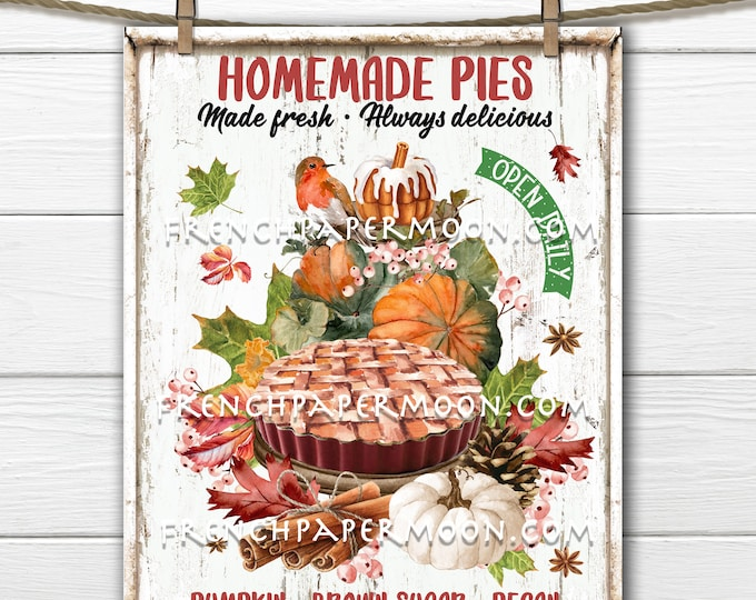 Homemade Pie Fall Decor Sign, Pumpkin Pie, Autumn Bakery Sign, Red Robin, Tiered Tray Decor, Fabric Transfer, Pillow Image, Sublimation, PNg