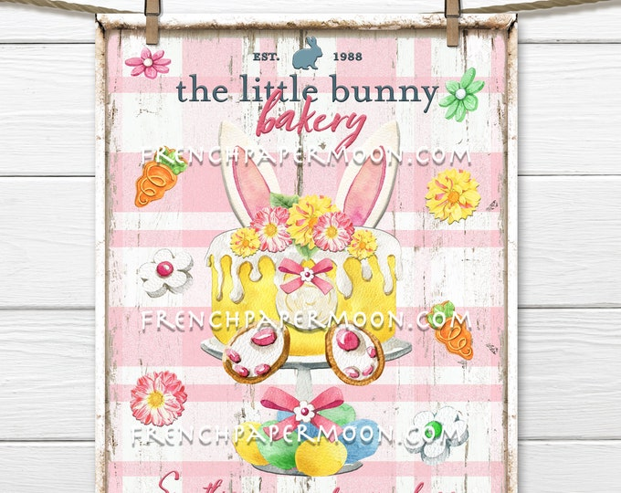 Bunny Bakery, Easter Bakery, Easter Sweets, DIY Easter Treats Sign, Wreath Attachment, Wall Decor, Pillow Image, Sublimation, Easter Bunny
