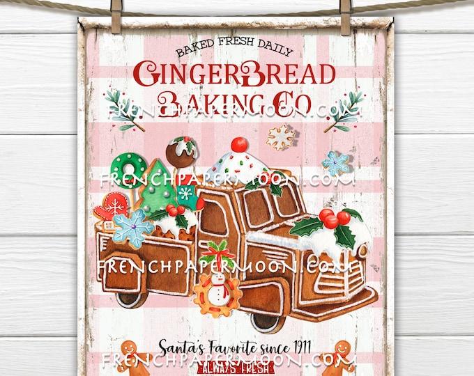 Gingerbread Bakery, Gingerbread Cookies, Xmas Cookies, Santa Cookies, DIY, Xmas Decor Sign, Wreath Accent, Christmas Decor, Fabric Transfer