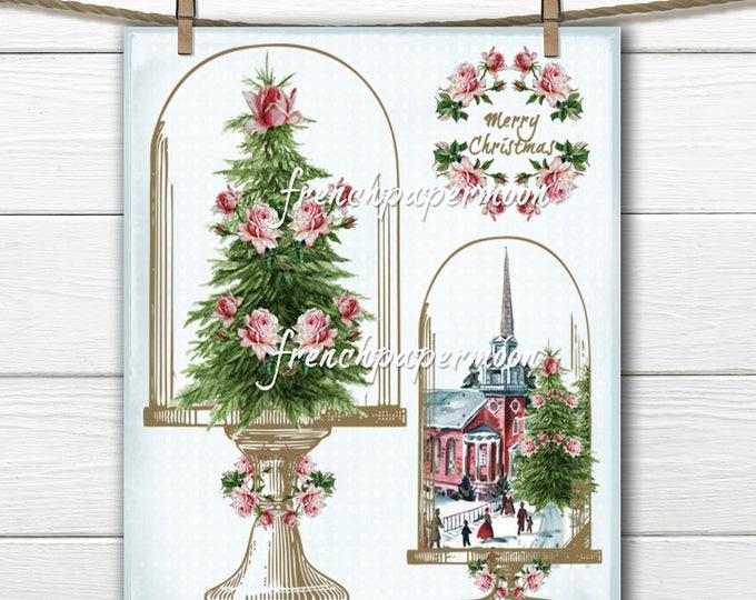 Shabby Vintage Christmas, Cloche, Christmas Trees, Roses, Printable Graphic Transfer Image 0102