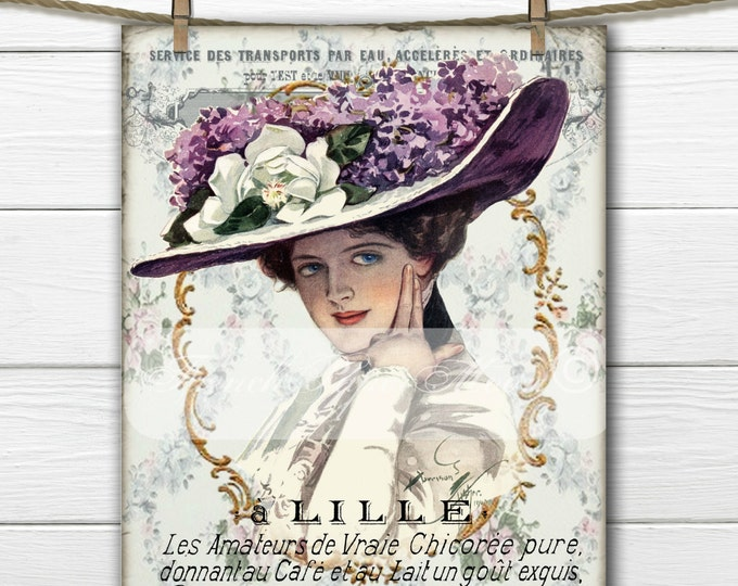 Digital Victorian Women, French Graphics, French Digital Lady, French Pillow Transfer Graphic, Instant Download