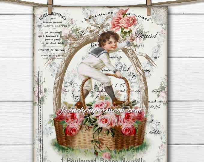 Digital French Victorian Boy, Shabby Basket of Roses, French Graphics, Instant Download, Large Image