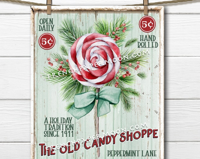 Retro Xmas Candy, Peppermint Candy, Christmas Candy Shop, DIY Christmas Sign, Hand Rolled, Wreath Attachment, Pillow Image, Xmas Print Decor