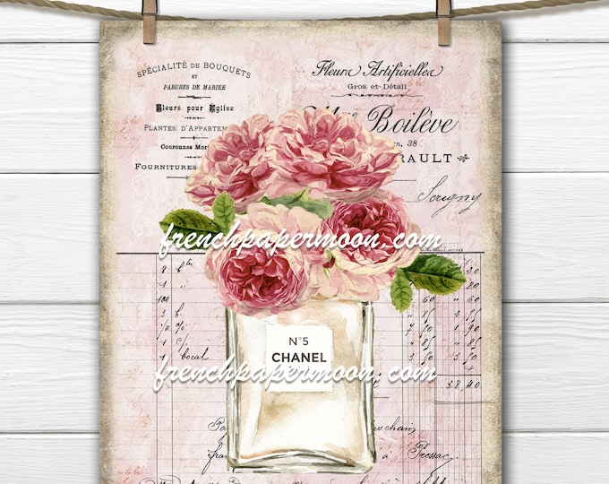 Shabby French Bouquet Vintage Roses, French Perfume Bottle, French Graphic Roses, Tiered Tray Printable, Fabric Transfer, Digital Image
