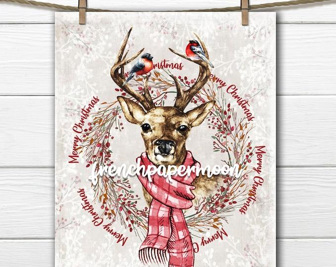 Reindeer Print, Watercolor Reindeer, Chikadee, Wreath, Deer Transfer, Woodland Christmas Graphic, Instant Download, Xmas Crafts