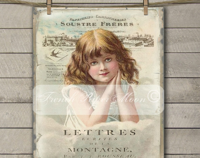 Digital Shabby Chic Victorian Girl, French Typography, French Pillow Transfer Graphic Transfer Image, Large Digital Download