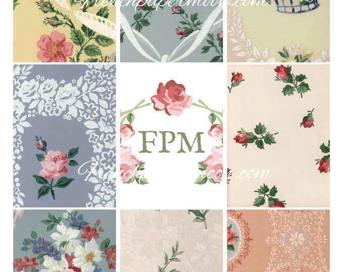 Vintage Rose Wallpaper, Shabby Wallpaper ATC, Rose Wallpaper printable, Doll House Wallpaper Collage Sheet