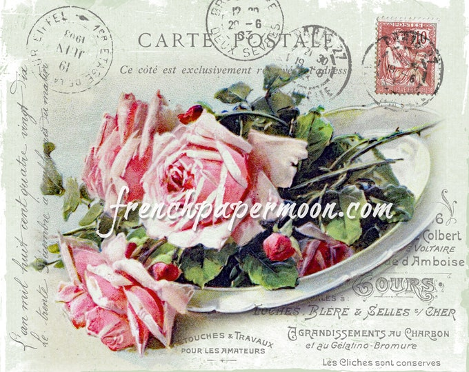 Digital Shabby Chic Rose Collage, French Letter Ephemera, Carte Postale, Printable, Old fashioned Rose Transfer, Scrapbook Supply ©