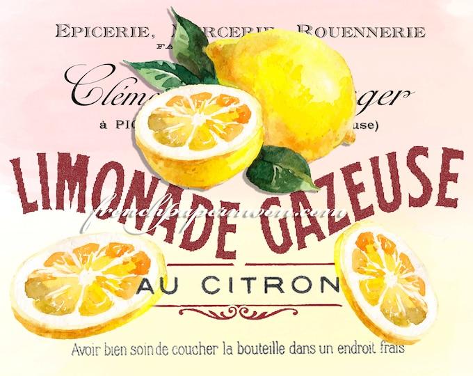 French Lemonade Digital Print, Watercolor Lemons, French Graphics, Large Size Lemonade, Instant Download Graphic Transfer Image