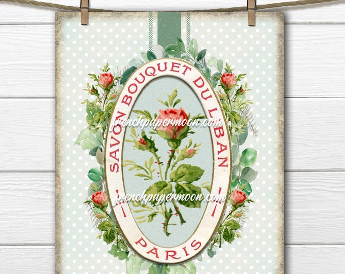 Shabby Rose Printable, French Perfume Rose Graphic, Perfume Label ephemera, French Pillow Image, Fabric Transfer, Transparent, Decoupage