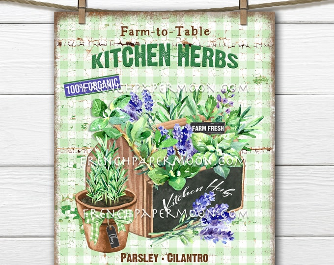 Farmhouse Kitchen Herbs, Herb Wreath Accent Decor Sign, Tiered Tray Herb Sign, Kitchen Herb Wall Art, Digital Print, Image Transfer, PNG