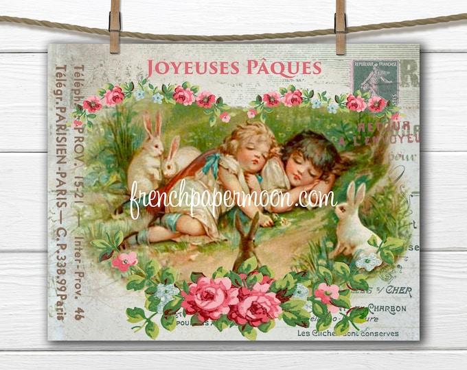 Shabby Victorian Easter Children, Easter Garden, Sleeping Children, Bunnies, French Pillow Image, Digital Easter Collage, PNG, Easter Decor