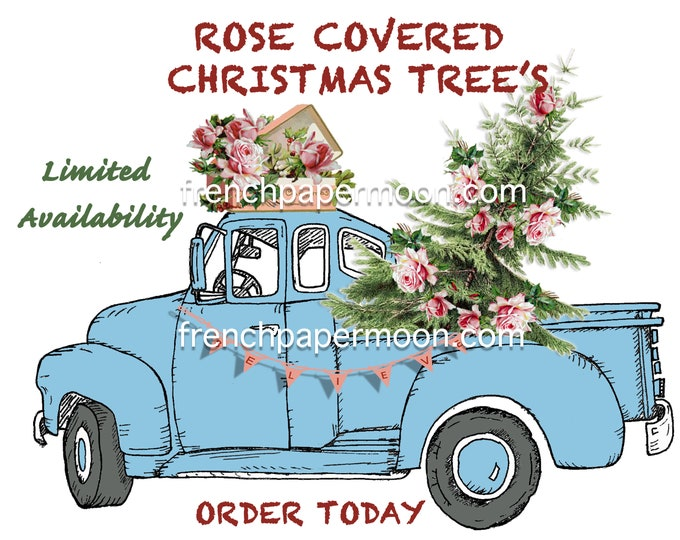 Vintage Shabby Chic Christmas Truck, Car, Xmas Tree and Roses, Christmas Pillow Transfer, Christmas Pillow Transfer, Xmas Roses, Digital