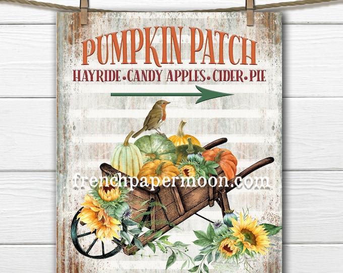 Rustic Wheelbarrow Pumpkin Patch Digital, Fall Harvest, Sunflowers, Pillow Image, Fabric Transfer, Galvanized, Transparent, Fall Print