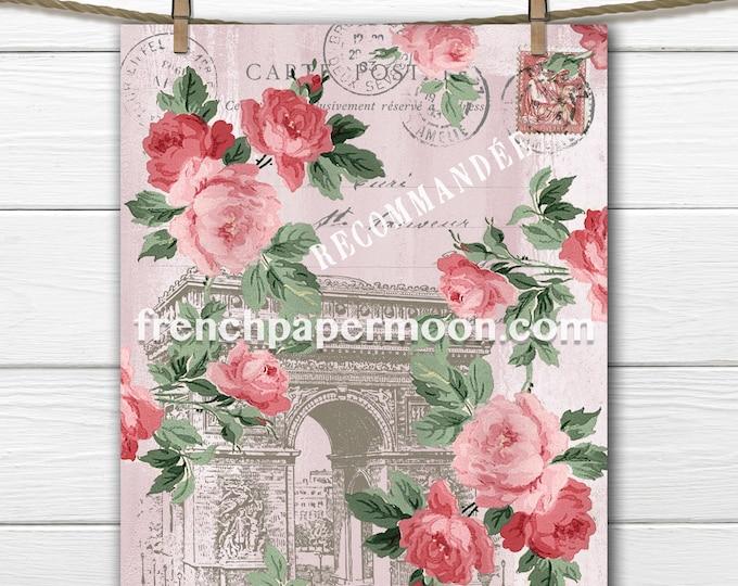 Shabby Pink Paris Printable, Arc de triomphe, Vintage Roses, Paris Ephemera, Wall Art, Craft Supply, Digital Image