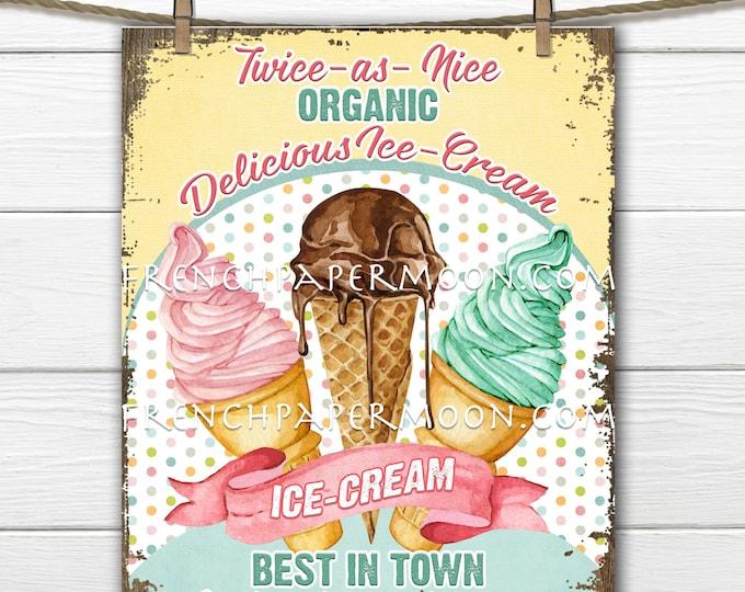 Digital Ice-Cream Sign, Retro Ice-Cream Parlor, Ice-Cream Cones, Summer Dessert, Pillow Image, Sublimation, PNG, Wood, Fabric Transfer