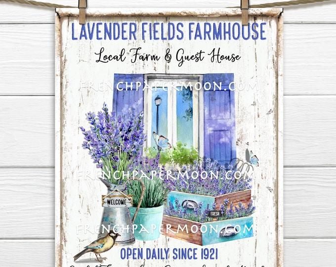 Lavender Farmhouse, Digital, Lavender Market, DIY Lavender Sign, Tiered Tray Decor, DIY Sign Making, Image Transfer, Wreath Accent, PNG