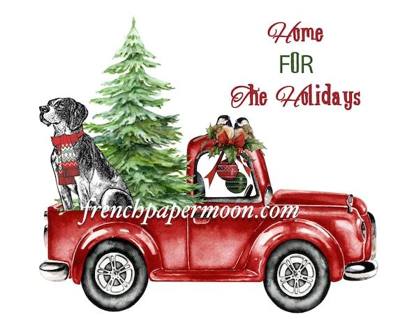 Red Christmas Truck.Digital Red Christmas Truck Christmas Dog Tree Christmas Pillow Fabric Transfer Diy Christmas Crafts