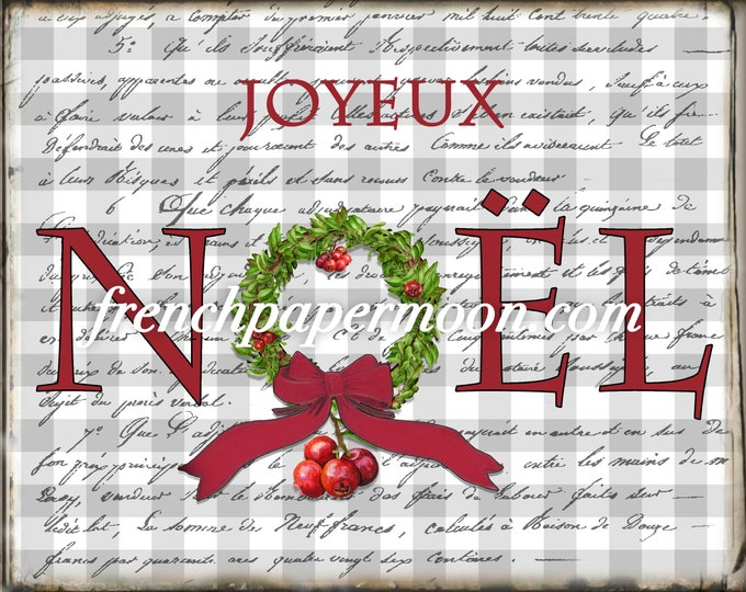 French Plaid Christmas Printable, Noel, Cranberries, Cranberry Wreath, French Xmas Pillow image Graphic Transfer, Crafts, JPEG PNG