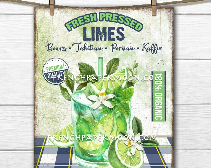 Lime Drink, Farmhouse Kitchen, Summer Drink, Wreath Accent Decor Sign, Tiered Tray Lime Sign, Kitchen Art, Digital Print, Image Transfer