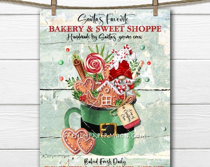 Candy Cane Gnome, Gingerbread Bakery, Santa Mug, Festive Christmas Digital, DIY Christmas Sign, Fabric Transfer, Wreath Accent, Xmas Crafts