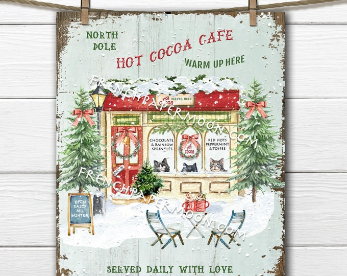 Hot Cocoa Shop, Winter Cafe, Christmas Sign, Snowy Winter Scene, Winter Cats, Cafe Cats, Fabric Transfer, Wreath Decor, DIY Xmas Sign, PNG
