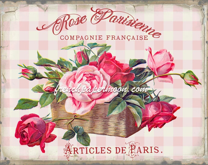 Shabby French Rose Digital, Vintage Rose Basket, Paris Roses, French Pillow Image, Tiered Tray, Wreath Decor, Pink Plaid, Fabric Transfer