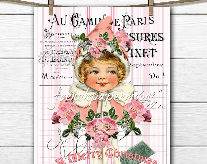 Shabby Pink Christmas Graphic, Pink Roses, Victorian Girl, French Background, Pillow Image, Sublimation, Xmas Crafts, PNG JPEG