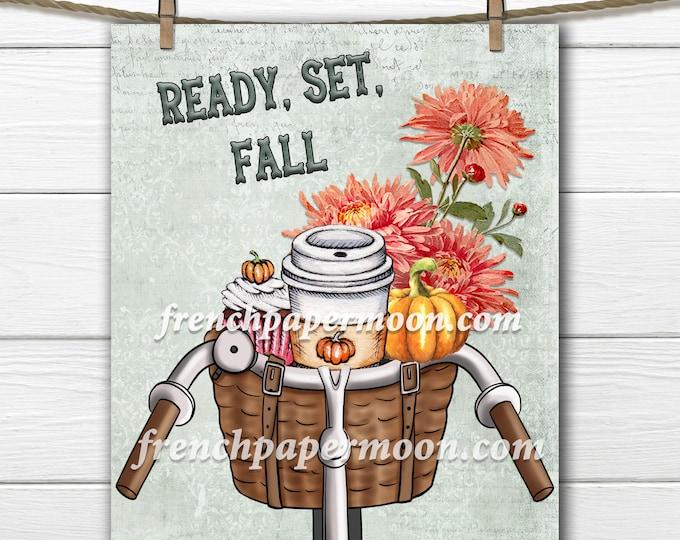 Fall Bicycle Printable, Autumn Bike, Pumpkin Latte, Dahlias, Pumpkins, Cupcake, Pillow Image, Fall Sign, Sublimation JPEG PNG