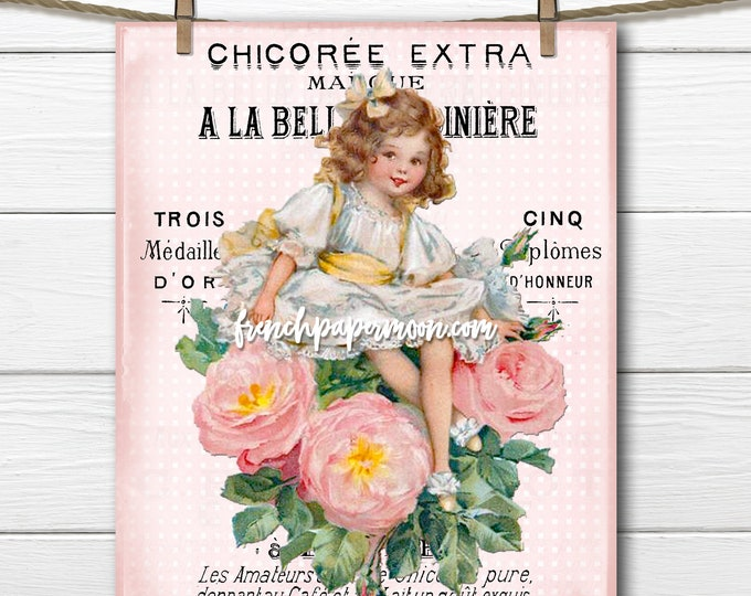 Shabby Victorian Girl, Vintage Girl with Roses, French Pillow Image, Decoupage, Fabric Transfer, Mothers Day Graphic, Transparent