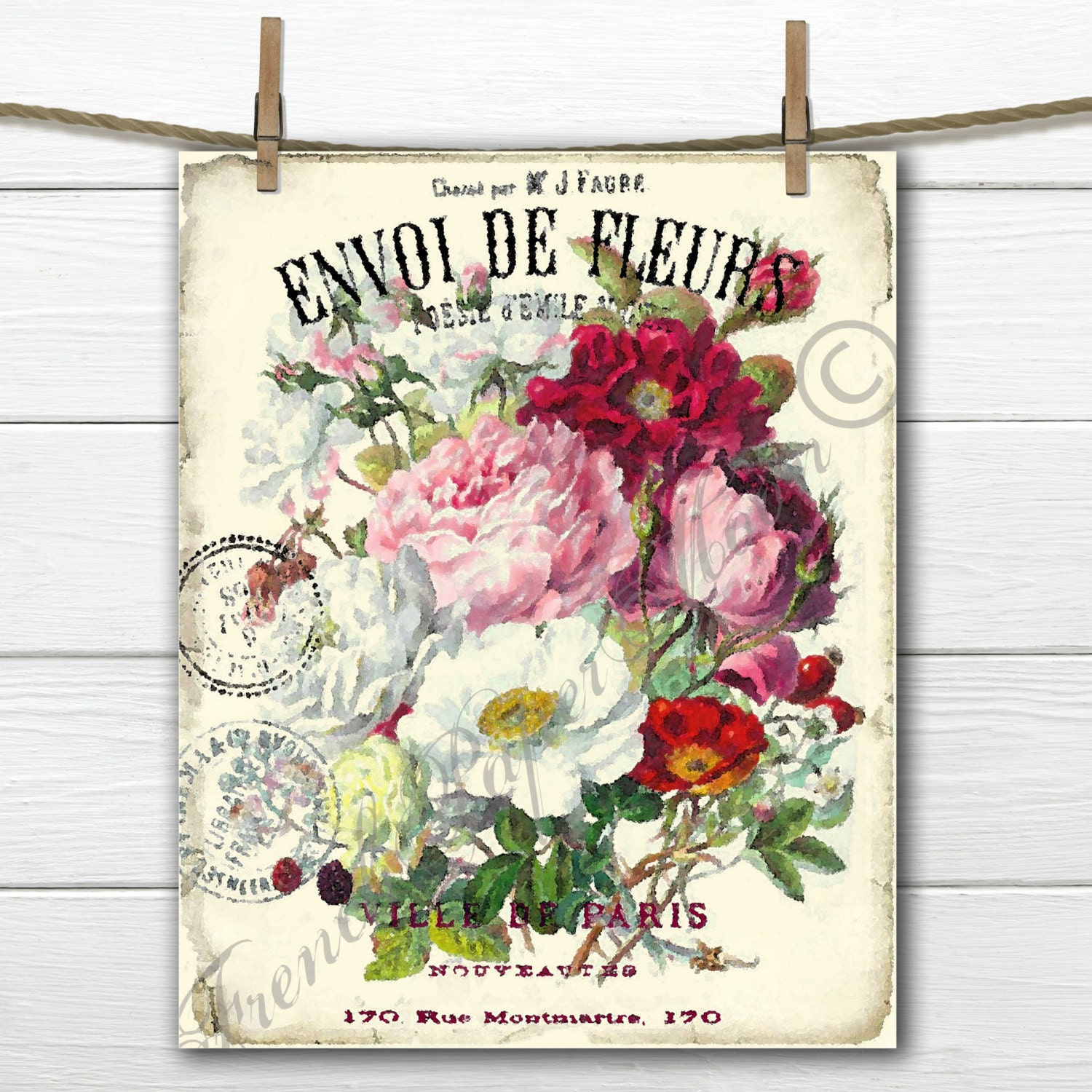 Vintage Digital Shabby Flower Bouquet, Watercolor flowers, French ...
