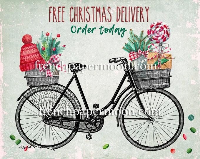 Digital Christmas Delivery Bike, Xmas Bicycle, Christmas Goodies, Fabric Transfer, Christmas Pillow Image, Craft Supply, Printable Christmas