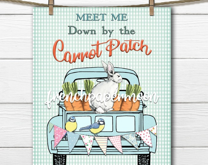 Farm Truck Digital Easter Carrot Patch Rabbit, Bunny Printable, Pillow Image, Crafts, Spring, Easter, Home Decor, PNG JPEG, Sublimation