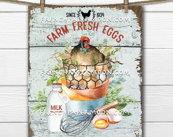 Farm Fresh Eggs, Farmhouse Kitchen, Chicken, Eggs, Cooking, Fabric Transfer, Tiered Tray Sign, DIY Fresh Eggs Sign, Wreath Decor, Kitchen