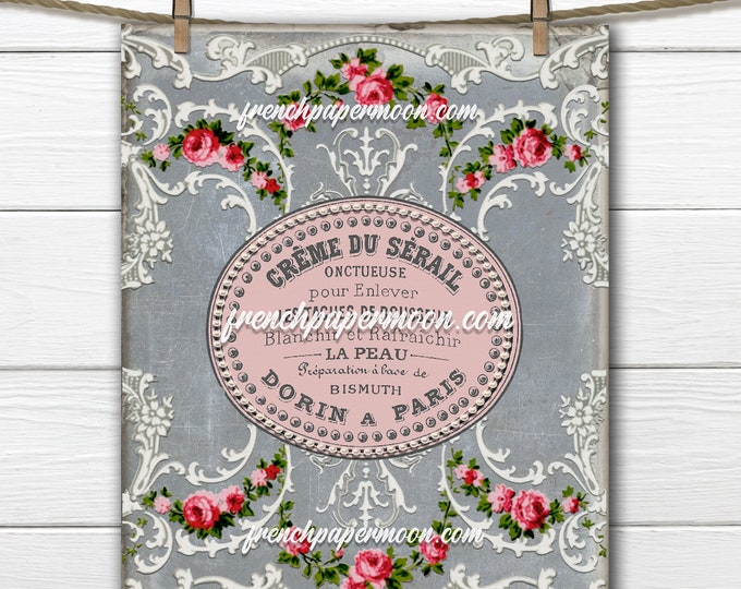 Victorian Rose Wallpaper Graphic, Shabby Floral Print, French Advertising, Printable Collage Sheet, Pillow Image, Decoupage, Fabric Transfer