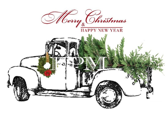 Digital Christmas Truck with Tree, Instant Download Christmas Pillow Image, Xmas Digital Sheet