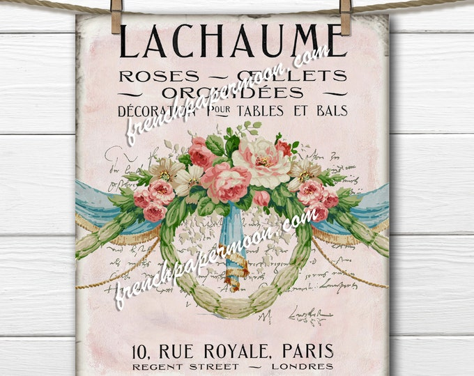 French Wallpaper Roses, Printable Victorian Floral, Fabric Transfer, French Pillow Image, Floral Swag, Wreath Graphic, Fabric Block Image