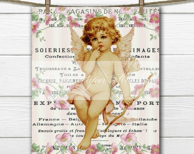 Shabby Angel, Digital Victorian Valentine, Cherub, Vintage Flowers, French Pillow Graphic Transfer Image
