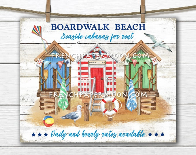 Beach Hut, Digital, Coastal Farmhouse, Nautical, Rustic Beach, Cabana, Summer, DIY Beach Sign, Tiered Tray Decor, Pillow Image, PNG, Wood
