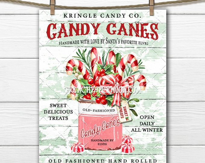 Old Fashioned Candy Cane, Digital, Kringle Candy Cane, DIY Christmas Sign, Xmas Home Decor,Fabric Transfer, Wreath Accent, Crafts