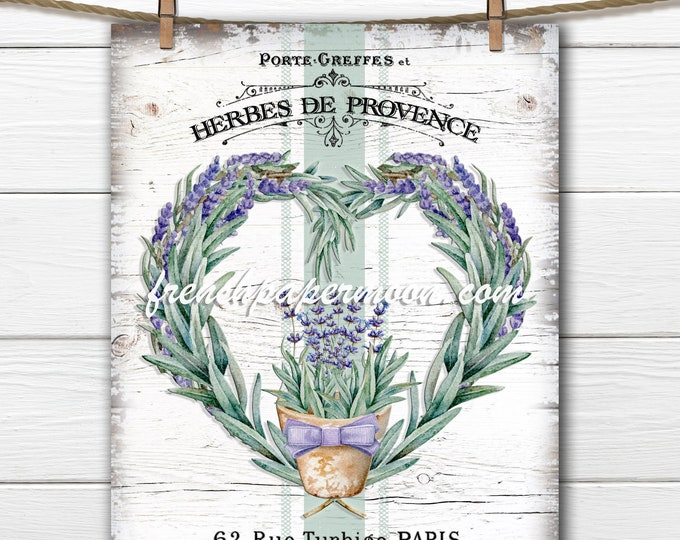 French Lavender Wreath Printable, Herbs, Provence, French Herbs, Heart Lavender Wreath, French Pillow Image, Fabric Transfer, Lavender Pot
