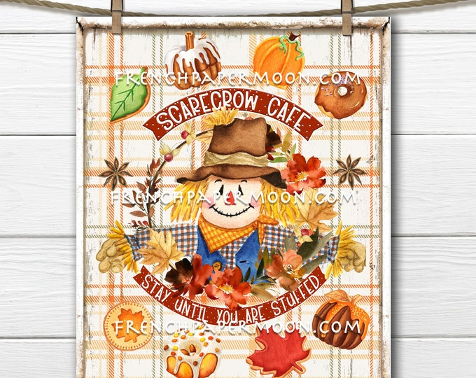 Fall cafe, Autumn Sweets, Fall Cookies, Scarecrow Cafe, DIY Fall Sign, Wreath Attachment, Tiered Tray Decor, Wall Print, Image Transfer, PNG
