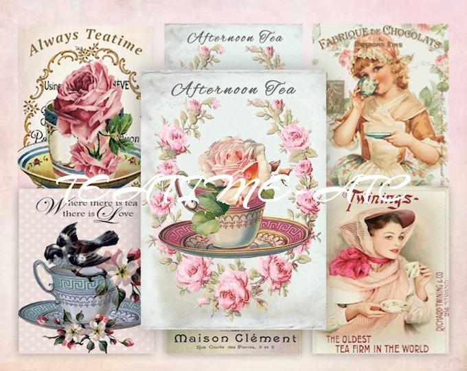 Digital Shabby Teacups with Roses, Tea, Teatime Digital Collage Sheet ATC, Shabby Chic Vintage Tea, Printable Download Scrapbooking