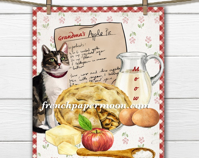 Grandma's Apple Pie, Apple Pie Graphic with Cat, Cat Lover, Baking, Fresh Apples, Kitchen Printable, Craft Sign, Digital Graphic PNG JPEG