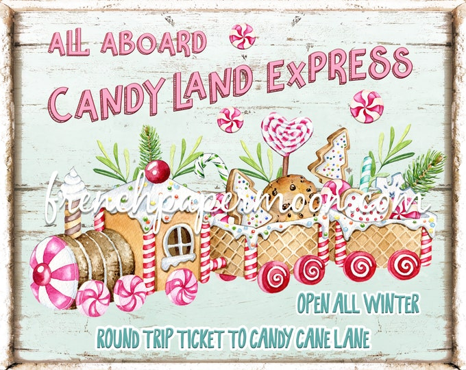Candyland Express Christmas Sign, DIY Xmas Sign, Xmas Train, Xmas Treats, Xmas Candy, Wreath Sign, Wreath Attachment, Pillow Image, PNG